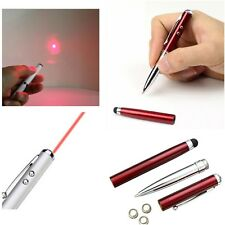 4in1 Laser Ballpoint Pen Pointer Light Beam 1mW Lazer cat toy + stylus  *UK*