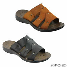 Mens Real Leather Tan Black Slip on Open Toe Summer Mules Beach Holiday Sandals