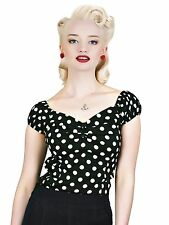 Collectif Dolores Black/White Dot 1950s Style Rockabilly Pin Up Top 10,12,14