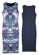 New Womens Cheap Floral Lace Print Summer Sleeveless Bodycon Midi Wiggle Dress