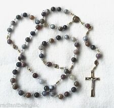 ROSARY Handmade Beautiful Contemporary Indian Agate Semi Precious Stone Catholic