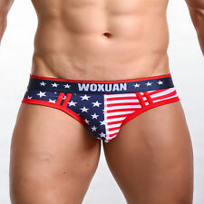 American Flag Mens Sexy Underwear Low-rise Briefs G-string Thongs Shorts T-back