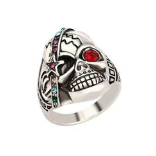 Male Jewelry Individual Punk Skull Ring Antique Silver Crystal Mens Ring