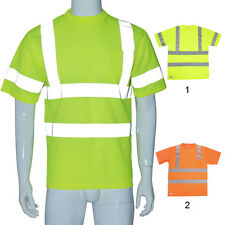 Hi-Vis Reflective Tape Security Work Safety Top Shirts Short Sleeve XL
