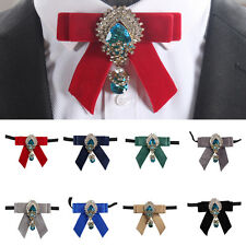 Men's Luxury Bow Tie Velvet with Diamond Jewel Wedding Party Formal Tie Necktie