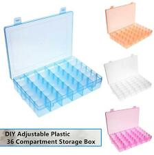 36 Compartment Adjustable Rings Jewelry Pills Display Organizer Storage Box Case