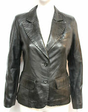 Mary Womens Ladies Black Designer 2 Button Blazer Short Real Leather Coat Jacket