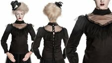 Spin Doctor Gothic Victorian Steampunk Black Lace High Neck Ruffle Blouse Top