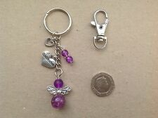 Handmade Guardian Angel GODMOTHER Bag Charm Keyring, Christening gift