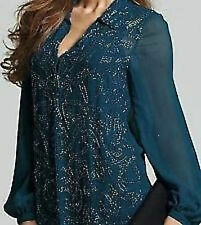 Hand Beaded Teal Evening Party Blouse  RRP £85  12, 14