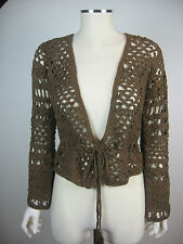 Lovely hand crocheted brown cardigan with tie belt (refG29)