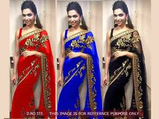 Beautiful Embroidered Saree Fabric Georgette Bollywood New Desiner Saree Blouse