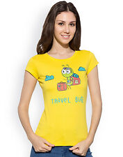 CHIMP Say Travel Bug 100% Organic Cotton Yellow T-Shirts For Girl's