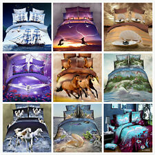 3D Love Nature Animal Home Duvet Quilt Cover Pillowcase Bed Set Queen Size O