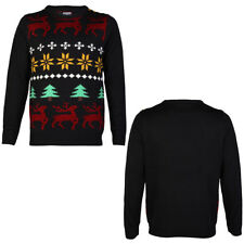 NEW MENS MERRY XMAS JOLLY BLUE KNITTED JACQUARD CHRISTMAS JUMPER TOP SIZE S-3XL