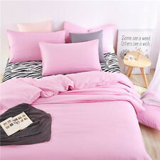 Pink Single Queen King Size Bed Set Pillowcase Quilt Duvet Cover Zebra O