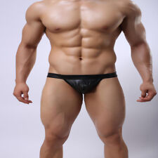 Sexy Men's Imitation Leather Jockstraps G-string Underwear Briefs Underpants