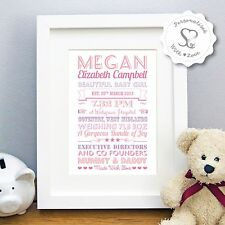 Personalised Christening New Baby Birth Boy Girl Print or Framed Print Art Gift