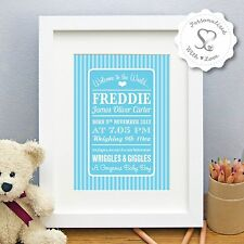 Personalised New Baby Birth Boy Girl Candy Stripe Print/Framed Christening Gift