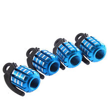 Blue Silver Grenade Metal Alloy Wheel Tyre Valve Dust Caps x4 Car BMX Dustcaps