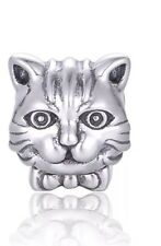 Cat face genuine sterling silver 925 charm fits European bracelets