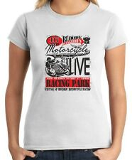 T-shirt Donna TB0353 motorcycle racing skull and old school bike 22