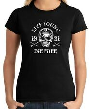 T-shirt Donna TB0352 motorcycle racing skull and old school bike