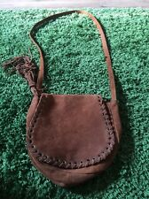 TOPSHOP Real Leather Suede Tan Brown Festival Hippy Across Body Bag Tassel