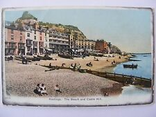 Postcard, Hastings, The Beach and Castle Hill, 1910