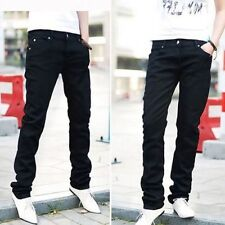 Men's Slim Fit Straight Washed Denim Pants Pencil Trousers Casual Jeans