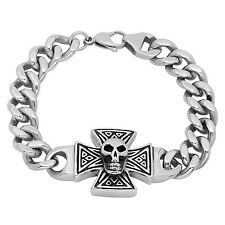 30.4mm Men's Stainless Steel Iron Cross and Skull with Cuban Curb Links Bracelet