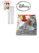 Women's Girls Disney Princess Pyjamas Collage Short Sleeve Top Long Bottoms NEW