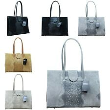 Made in Italy Donna Borsa IT Bag Vera Pelle Alligatore Goffratura Coccodrillo
