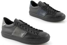 Baskets homme basses cuir noir chaussures bicolore à lacets made in italy