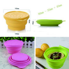 830ML Silicone Folding Cup Bowl Set Collapsible Outdoor Travel Camping Tool +Lid