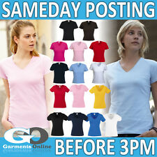 LADIES V-NECK T-SHIRT WOMEN TEE ADULT LADY-FIT PLAIN BLANK WORK UNIFORM TOP