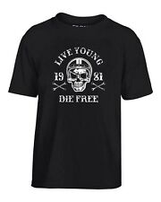 T-shirt Bambino TB0352 motorcycle racing skull and old school bike
