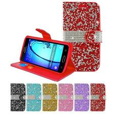 For Samsung Galaxy On5/G550 Diamond Wallet PU Leather Box Card Holder Case Cover