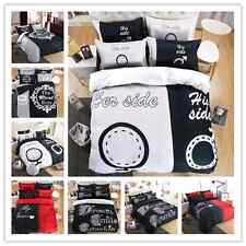 Black White Red Side Home Queen King Size Bed Set Pillowcase Quilt Duvet Cover O