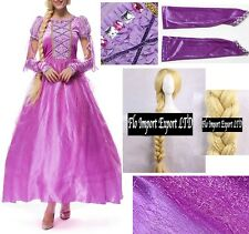 Rapunzel Vestito Carnevale Donna Dress up Tangled Woman Costume RPZ001
