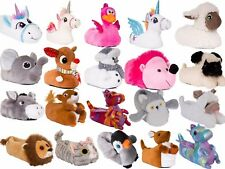 BNWT Cute Ladies or Kids Plush Fur 3D Animal Slippers, Various Styles, UK 10-8