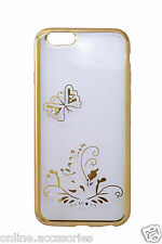 Rhinestone Sides Gold Designer Soft Silicon Back Cover for Apple iPhone 5S SE