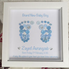 Brand New Baby Boy / Girl - Personalised Button Feet Picture Print Footprints