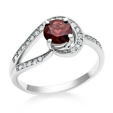 1.25 Carat Natural Garnet & Created White Sapphire Ring in Sterling Silver