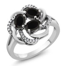 1.54 Ct Oval Natural Black Onyx 925 Sterling Silver Women's Ring Size 5 to