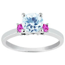 1.35 Ct Round Sky Blue Topaz Pink Sapphire 925 Sterling Silver Engagement R