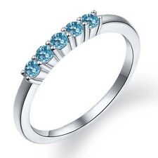 0.40 Ct Round Swiss Blue Topaz 925 Sterling Silver Ring