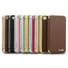 Deluxe SHENGO Genuine Leather Case w/ Diamond Metal Bumper Inner for iPhone 5s