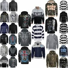 MENS HOODED SWEATSHIRT PRINTED HOODIES ZIP UP FRONT TOPS GYM JUMPERS HOODY S-6XL