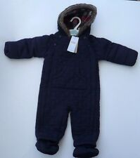BNWT M&S Marks and Spencer Blue Quilted Snowsuit Age 3-6 9-12 months